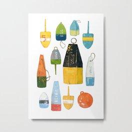 Lobster Buoys Metal Print