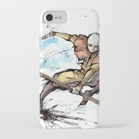the last airbender iPhone & iPod Cases featuring Aang from Avatar the Last Airbender sumi/watercolor by mycks