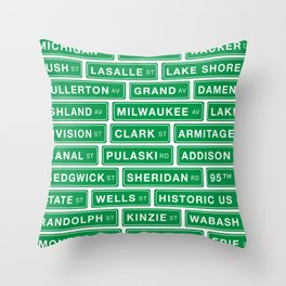 Famous Chicago Streets // Chicago Street Signs Throw Pillow
