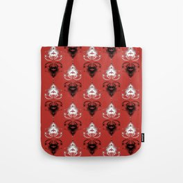 Ornament medallions - Black and white fractals on valiant poppy color Tote Bag