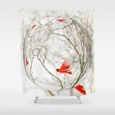 Cardinal Refraction Shower Curtain