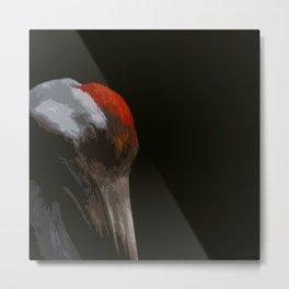 Sleeping Crane Metal Print