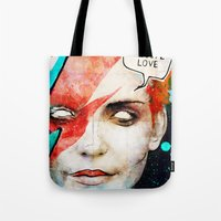 david bowie Tote Bags featuring Ziggy Stardust/David Bowie by Ed Pires