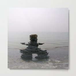Stone Inukshuk on The Shore Looking Out Over Calm Water ~ A Meaningful Messenger Metal Print