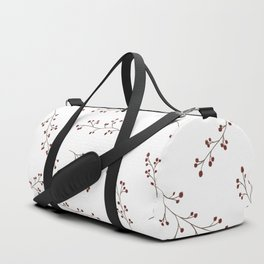 Berry Branches Pattern in White and Red Duffle Bag