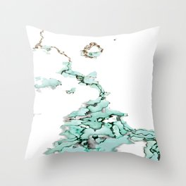 white silver turquoise marbled abstract digital painting Throw Pillow