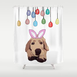 Happy Easter - Golden Lab Bunny Shower Curtain