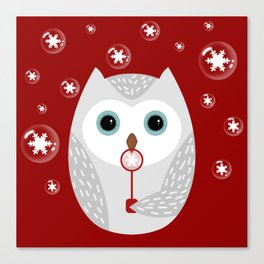Christmas owl on red Canvas Print