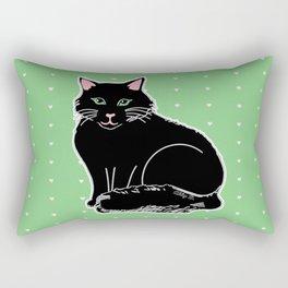 Black Fluffy Cat Pink & Green Rectangular Pillow