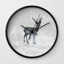 Snowing Deer Wall Clock