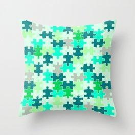 Green Jigsaw Puzzle Throw Pillow