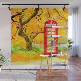 Autumn In Great Britain - Red Telephone Box Artwork Wall Mural