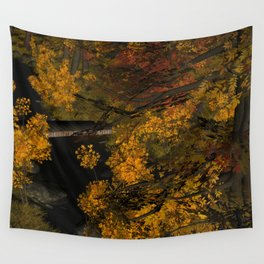 Autumn Leaves and Stream Wall Tapestry