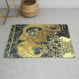 Art Nouveau Vintage Poster by Koloman Moser for the 5th Exhibition of the Wiender Secession Rug
