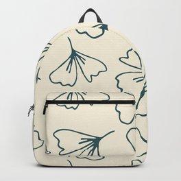 Modern Bold Ginko Leaves on Tan Backpack