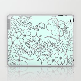 Dotted Floral Scroll in Mint and Grey Laptop & iPad Skin