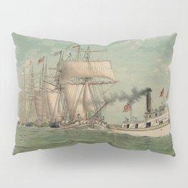 Vintage Fishing Fleet Painting (1882) Pillow Sham