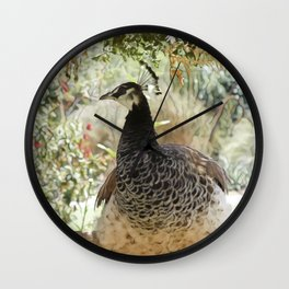 Queen Peahen on Her Throne Wall Clock