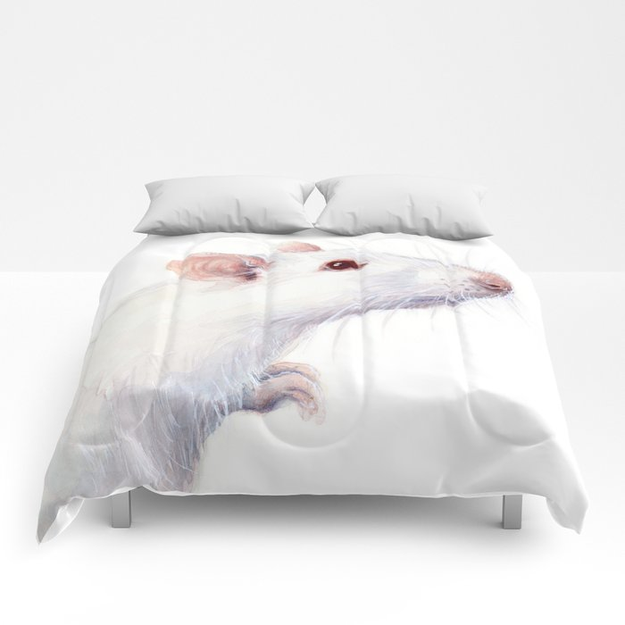 White Rat Watercolor Albino Rat Animal Comforters