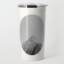 Mid Century Modern Round Circle Photo Grey Minimalist Monochrome Snow Mountain Peak Travel Mug