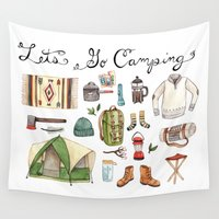 camping Wall Tapestries featuring Let's Go Camping by Brooke Weeber
