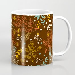 Elegant fall orange yellow teal brown floral polka dots Coffee Mug