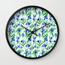 Olive Greek Mediterranean Watercolor Pattern Wall Clock
