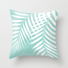 Teal Paint Stroke of Palm Leaves Throw Pillow