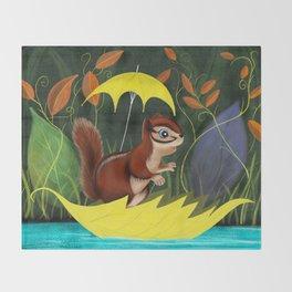Chipmunk's Amazing Rainy Day Adventure Throw Blanket
