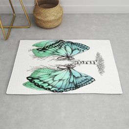 Butterfly Lungs Blue Green Rug