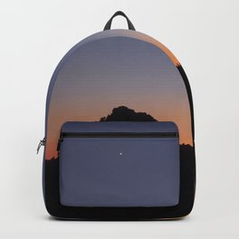 Venus and the Moon. Sierra Nevada at sunset Backpack