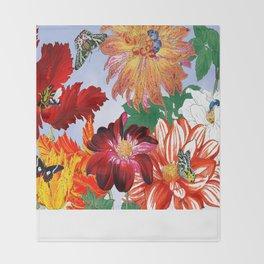 Dazzlin' Dahlias, Tulips, B'flies Throw Blanket
