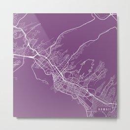 Honolulu Map, USA - Purple Metal Print