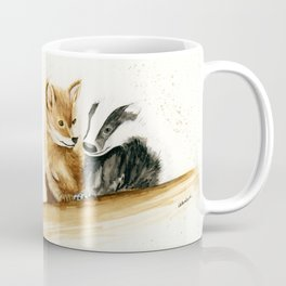 Friends (Fox and Badger) - animal watercolor painting Coffee Mug