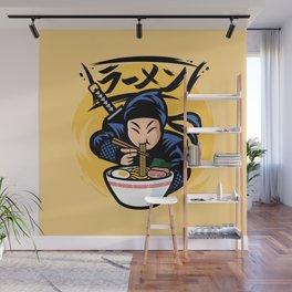 Cute japanese ninja eat ramen noodles vintage drawing illustration Wall Mural