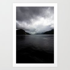 Clouded Fjord Art Print