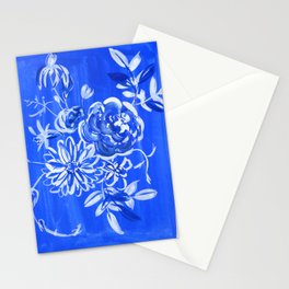 blue and white: floral composition Stationery Cards