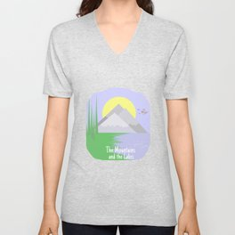 The mountains and the lake Unisex V-Neck