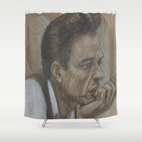 johnny cash Shower Curtains featuring Johnny Cash by Tex Bigrancher