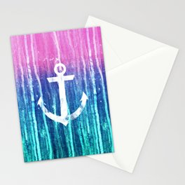 Nautical Anchor Pink Teal Watercolor Stripes Drips Stationery Cards