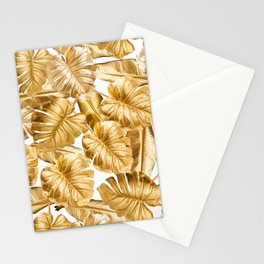 Gold Leaves Aloha Tropical Foliage Pattern Stationery Cards