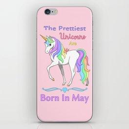 Pretty Rainbow Unicorn May Birthday Girl iPhone Skin