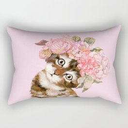 Baby Cat with Flower Crown Rectangular Pillow