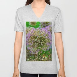 Purple Flower Close Up of Alliums Welcome to Boston Common Unisex V-Neck