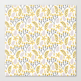 Yellow Floral on White Canvas Print