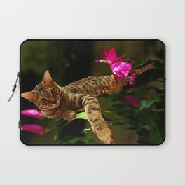 Bengal Cat Resting on Flowers Laptop Sleeve