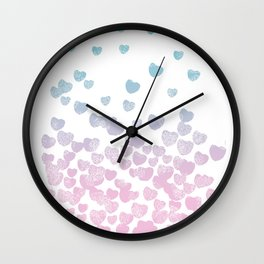 Hearts falling ombre blue and pastel pink cotton candy wonderland Wall Clock