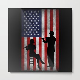 Flute Flutist American Flag Metal Print