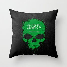 Flag of Saudi Arabia on a Chaotic Splatter Skull Throw Pillow