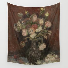 Vase with Chinese Asters and Gladioli Wall Tapestry